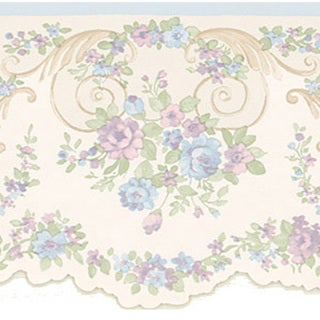 Lavender Floral Scroll Border Wallpaper