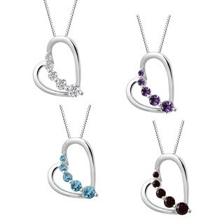 Sterling Silver Amethyst or Blue Topaz Heart Necklace