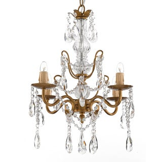 Gallery 4-light Gold Wrought Iron and Crystal Chandelier