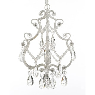 Gallery 1-light White Wrought Iron and Crystal Chandelier