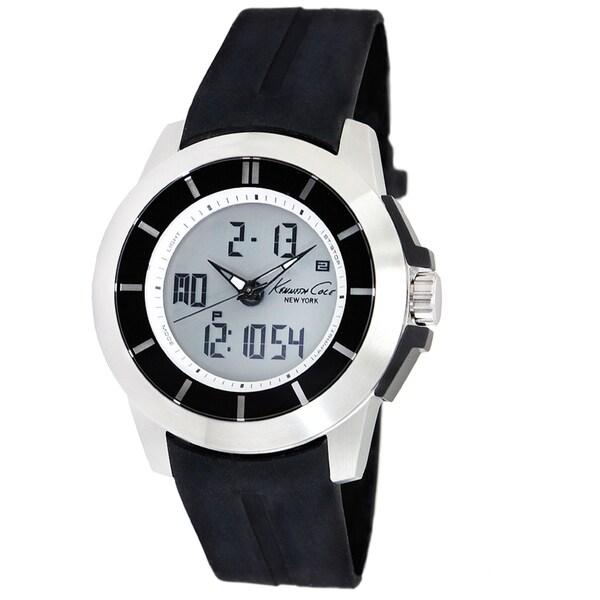 Kenneth Cole Men's 'Touch' Black Calfskin Strap Watch