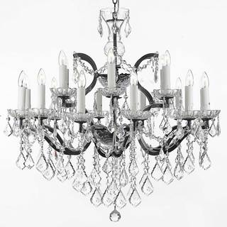 Rococo 19th C 18-light Black Wrought Iron and Crystal Chandelier