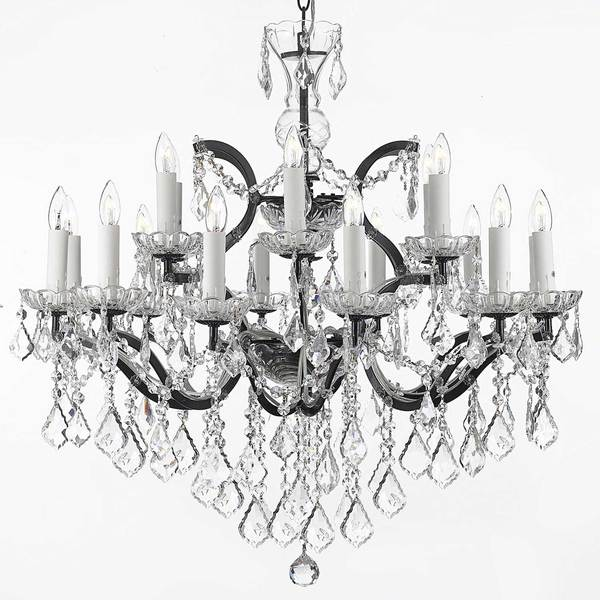 Gallery Rococo 19th C 18-light Black Wrought Iron and Crystal Chandelier