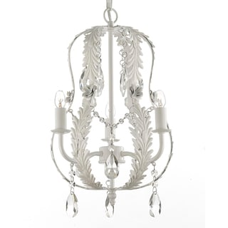 Gallery Indoor 3-Light White Wrought Iron and Crystal Chandelier