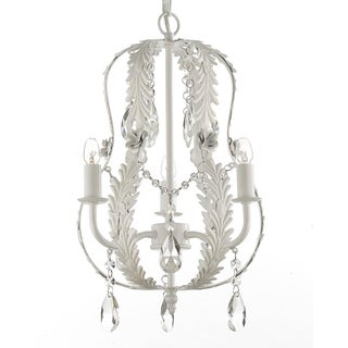 Gallery Indoor 1-Light White Wrought Iron and Crystal Chandelier
