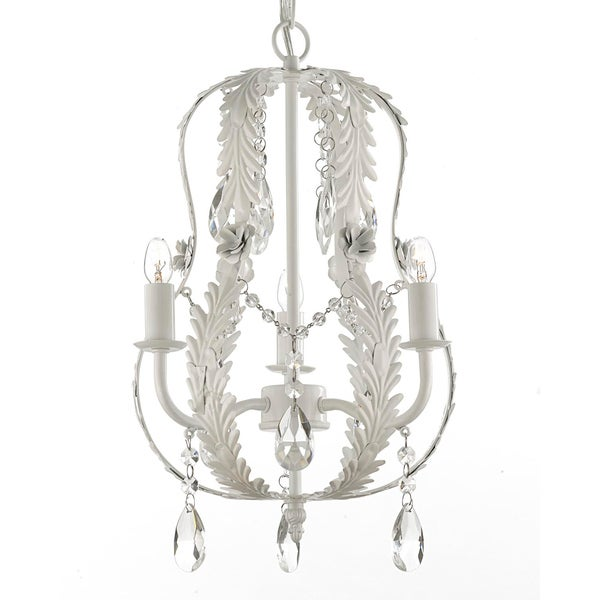 Gallery Indoor 3-light White Wrought Iron and Crystal Chandelier Hardwire and Plug In