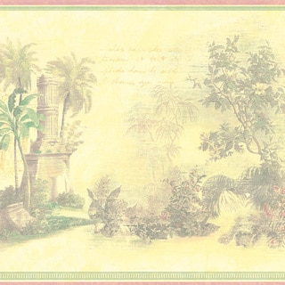 Yellow Tropical Toile Border Wallpaper