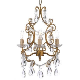 Gallery 4-light Black Wrought Iron and Crystal Chandelier