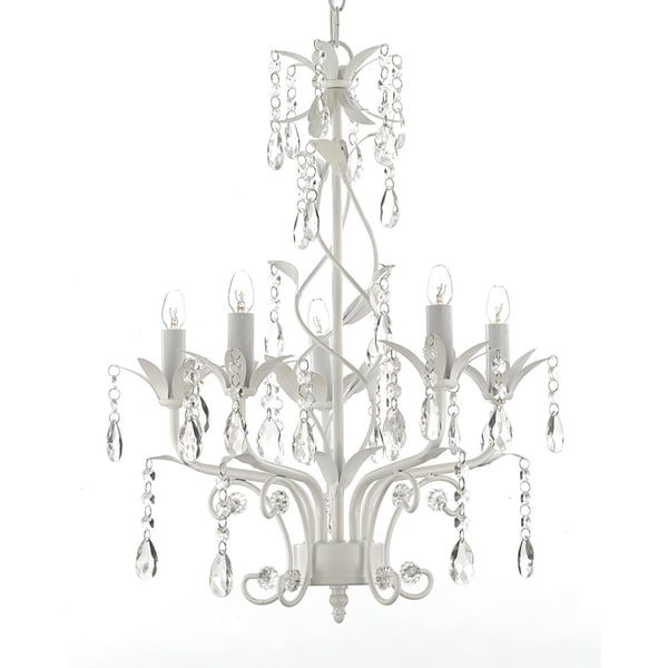 Gallery 5-light White Wrought Iron and Crystal Chandelier