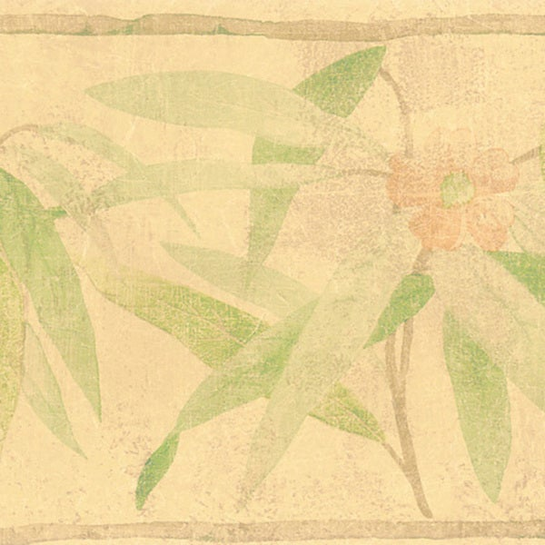 Beige Bamboo Flower Border Wallpaper