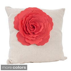 Flower Design 17-inch Decorative Throw Pillow