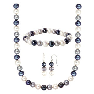 Sterling Silver Multi-colored Freshwater Pearl Jewelry Set (8-8.5 mm)