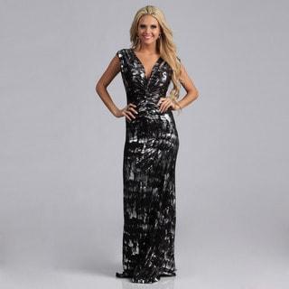 Tabeez Women's Printed MetallicCenter Shirred Jersey Dress