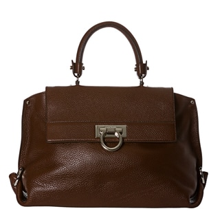 Salvatore Ferragamo 'Sofia' Medium Brown Pebbled Leather Satchel