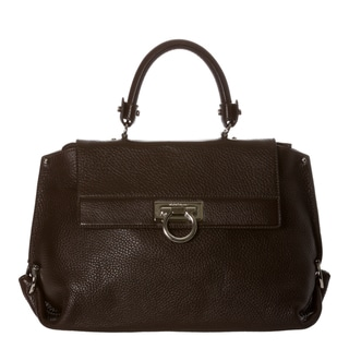 Salvatore Ferragamo 'Sofia' Dark Medium Brown Pebbled Leather Satchel