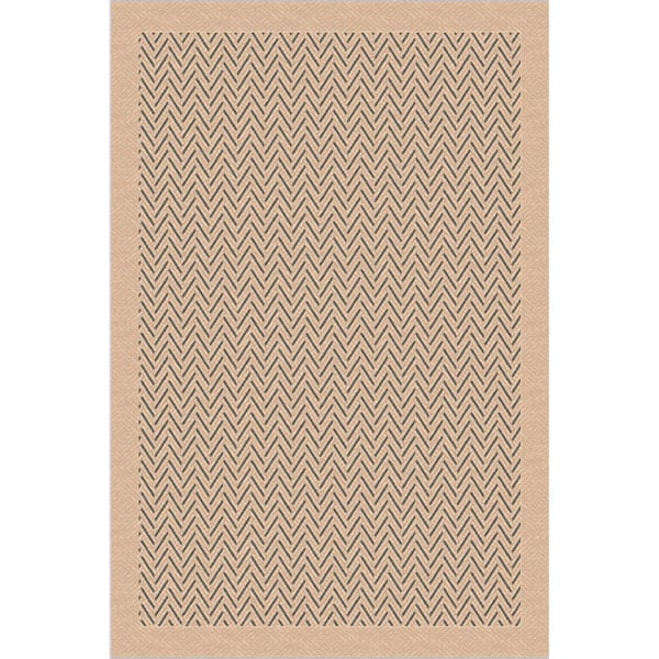 Indoor/ Outoor Rug Herringbone Beige and Grey Area Rug (2'7 x 5'11)
