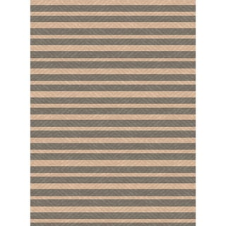 Indoor/ Outoor Rug Summer Stripe Grey and Beige Area Rug (2'7X5'11)
