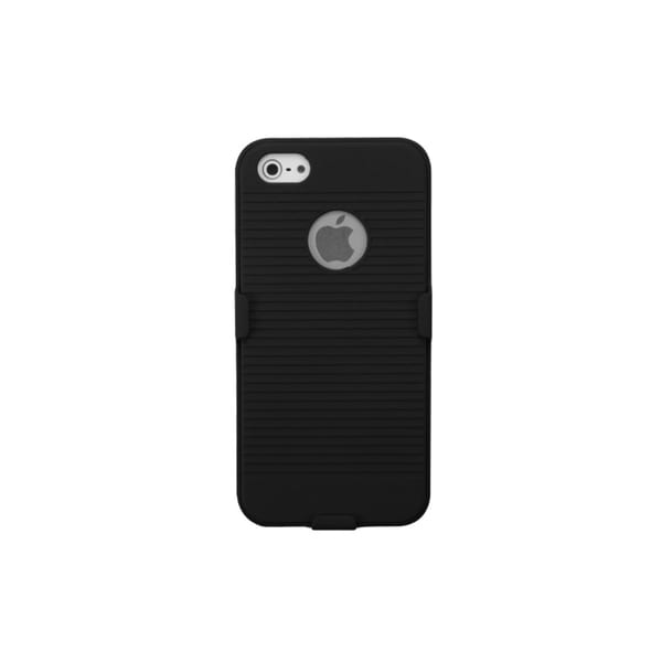 INSTEN Black Rubberized Phone Case Cover/ Belt Clip Holster for Apple iPhone 5
