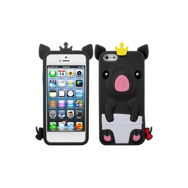INSTEN Black Cute Pig Soft Silicone Gel Skin Phone Case Cover for Apple iPhone 5