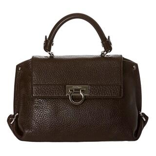 Salvatore Ferragamo 'Sofia' Small Dark Brown Pebbled Leather Satchel