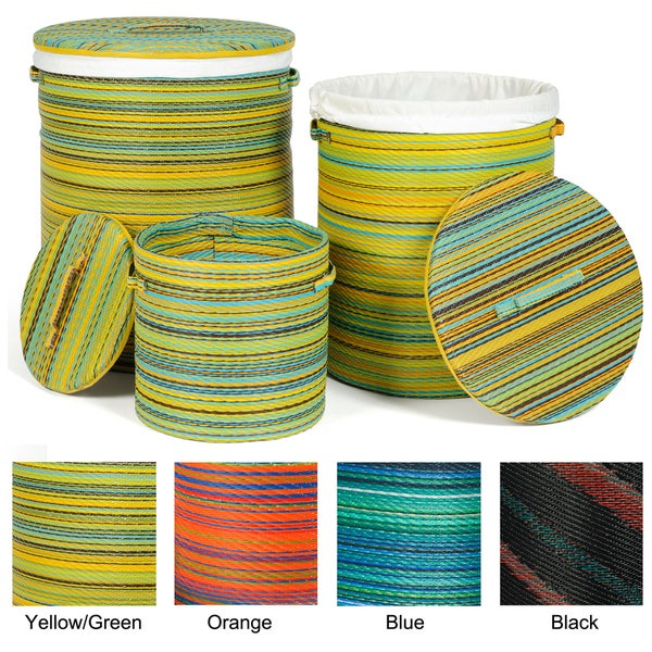 Set of 3 Prater Mills Cancun Indoor/Outdoor Baskets (India)