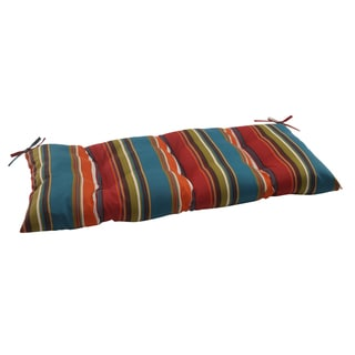 Pillow Perfect Westport Polyester Teal Tufted Outdoor Loveseat Cushion
