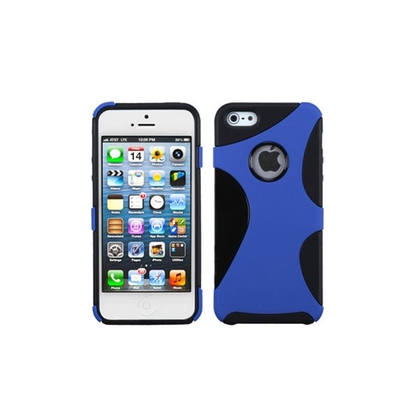 INSTEN Mixy Rubberized Dark Blue/ Black Phone Case Cover for Apple iPhone 5