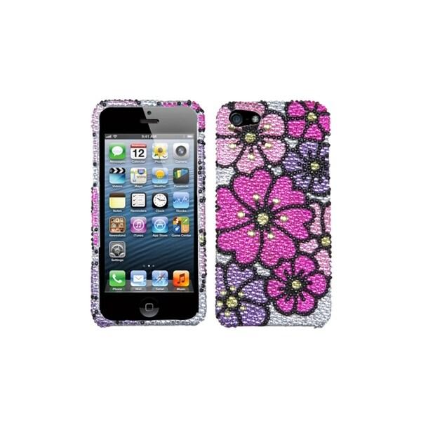 INSTEN Bling Pink Carnation Gardener Diamante Phone Case Cover for Apple iPhone 5