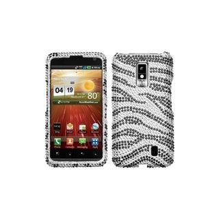 MYBAT Black Zebra Skin Diamante Case for LG VS920 Spectrum