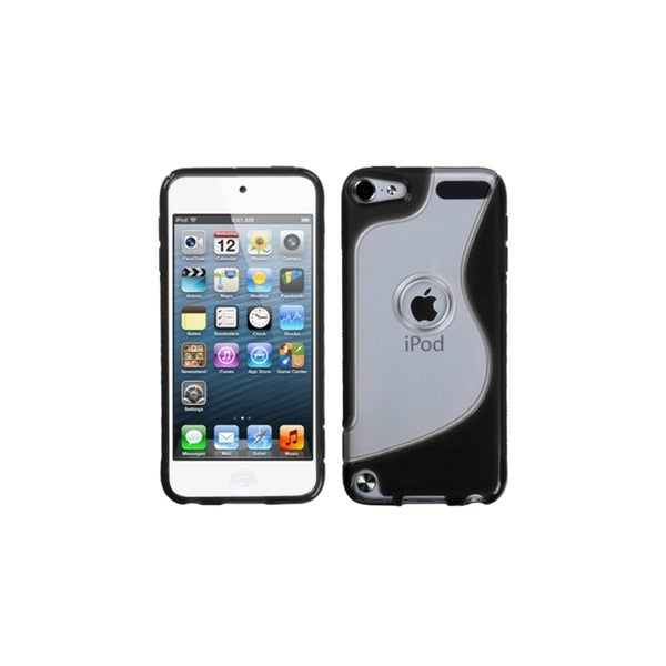Insten Clear/ Black S Shape TPU Rubber Candy Skin Case Cover For Apple iPod Touch 5th/ 6th Gen