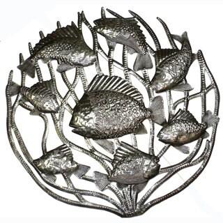 Handmade 'Fish in Coral' Metal 24-inch Wall Art