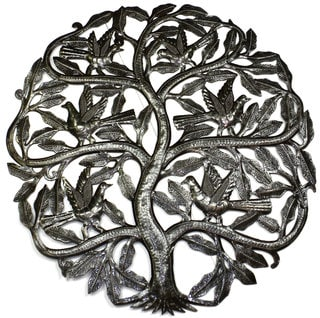 Handmade 'Tree of Life Birds Ready to Fly' 24-inch Wall Art (Haiti)