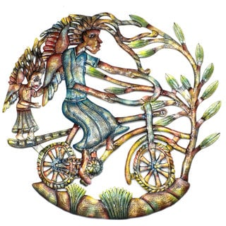 Handmade 'Angels on Bicycle' Painted 24-inch Wall Art (Haiti)