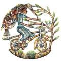 Handmade 'Angels on Bicycle' Painted 24-inch Wall Art (Haiti)