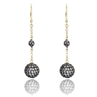 Riccova Two-tone Cubic Zirconia Pave Double Ball Earrings