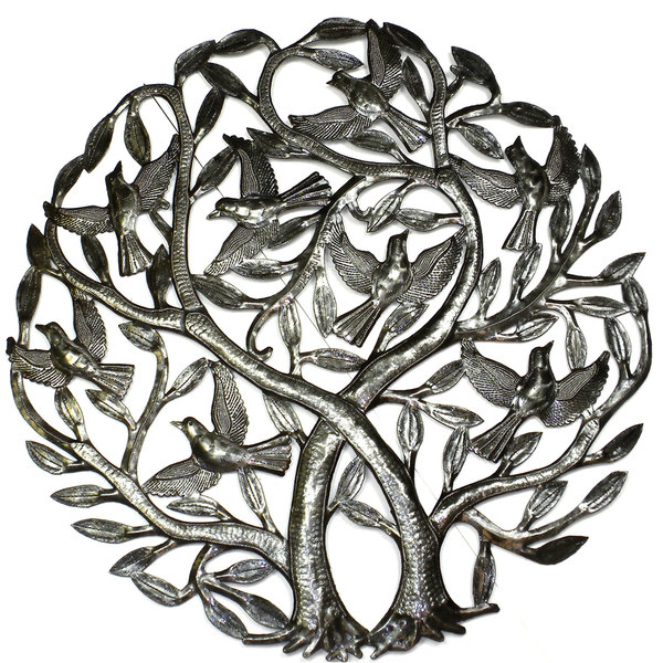 Handmade 'Double Tree of Life' Metal Wall Art 24-inch Wall Art (Haiti)