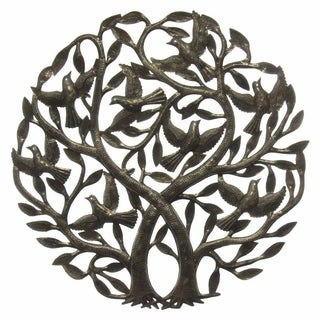 Handmade 'Double Tree of Life' Metal Wall Art 24-inch Wall Art , Handmade in Haiti