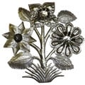 Hamdmade 'Flowers' 15-inch Metal Wall Art (Haiti)