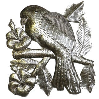 Handmade 'Parrot on a Branch' 12-inch Metal Wall Art (Haiti)