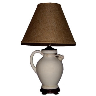 Crown Lighting Jug Aged White with Tan Over Wash Table Lamp