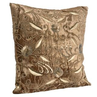 Beaded Velvet Gold Decorative Throw Pillow