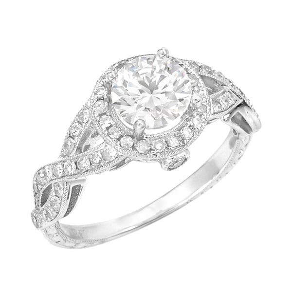 Silver Moissanite/ CZ and 3/8ct TDW Diamond Ring (G, SI1)