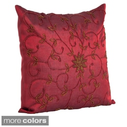 Handmade Beaded 16-inch Decorative Throw Pillow