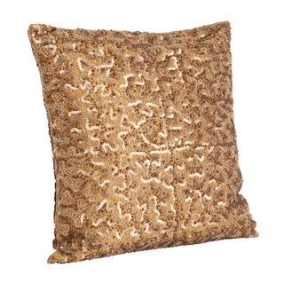 Beaded and Sequined Copper Decorative Throw Pillow
