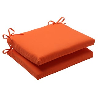 Pillow Perfect Sundeck Polyester Orange Square Outdoor Seat Cushions (Set of 2)