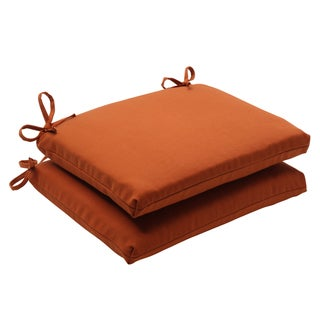 Pillow Perfect Cinnabar Polyester Burnt Orange Square Outdoor Seat Cushions (Set of 2)