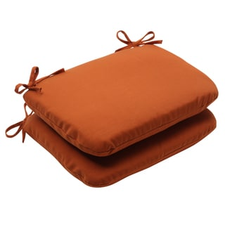 Pillow Perfect Cinnabar Polyester Burnt Orange Round Outdoor Seat Cushions (Set of 2)