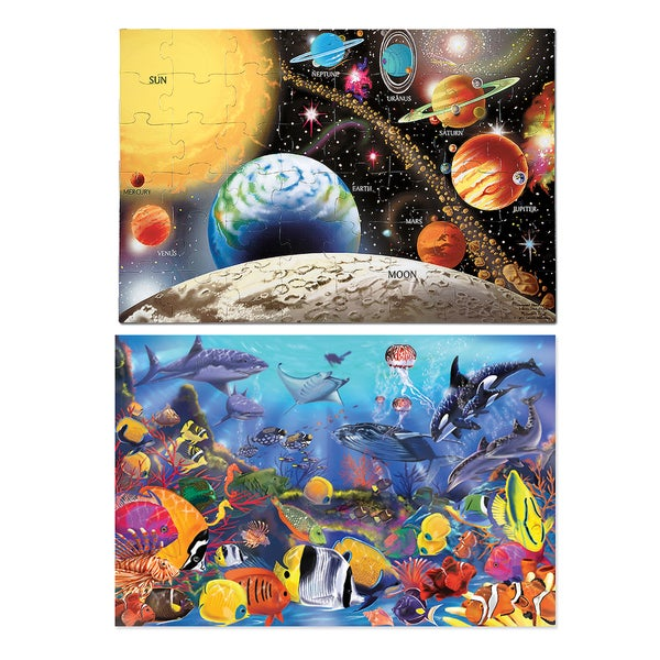 Melissa & Doug Solar System and Underwater Puzzle Bundle