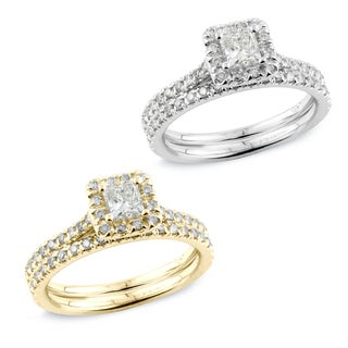 Auriya 14k Gold 1ct TDW Princess Diamond Halo Bridal Ring Set (H-I, SI1-SI2)