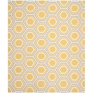 Safavieh Handwoven Moroccan Reversible Dhurrie Ivory/ Yellow Geometric Wool Rug (8' x 10')